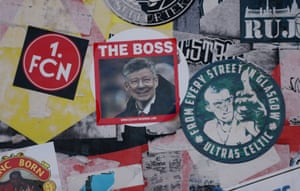 A collection of stickers outside Old Trafford before Manchester United loose 2-0 to Cardiff City