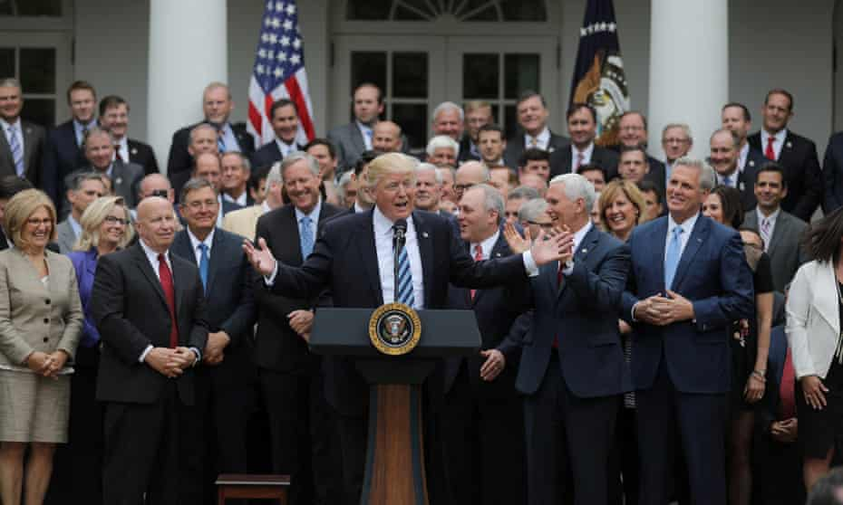 Trump gathers with Republican House members after the healthcare bill vote.