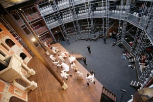 Actors perform on stage at the the Pop-up Globe theatre in Melbourne