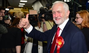 Jeremy Corbyn arrives at the vote count in his Islington North constituency