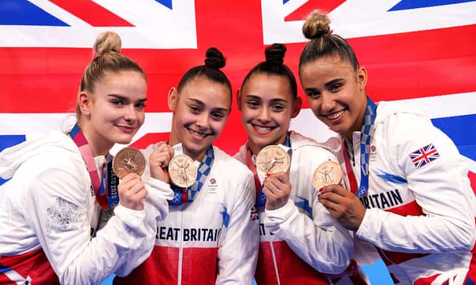 Team GB's Alice Kinsella, Jennifer Gadirova, Jessica Gadirova and Amelie Morgan pose with their bronze medals.