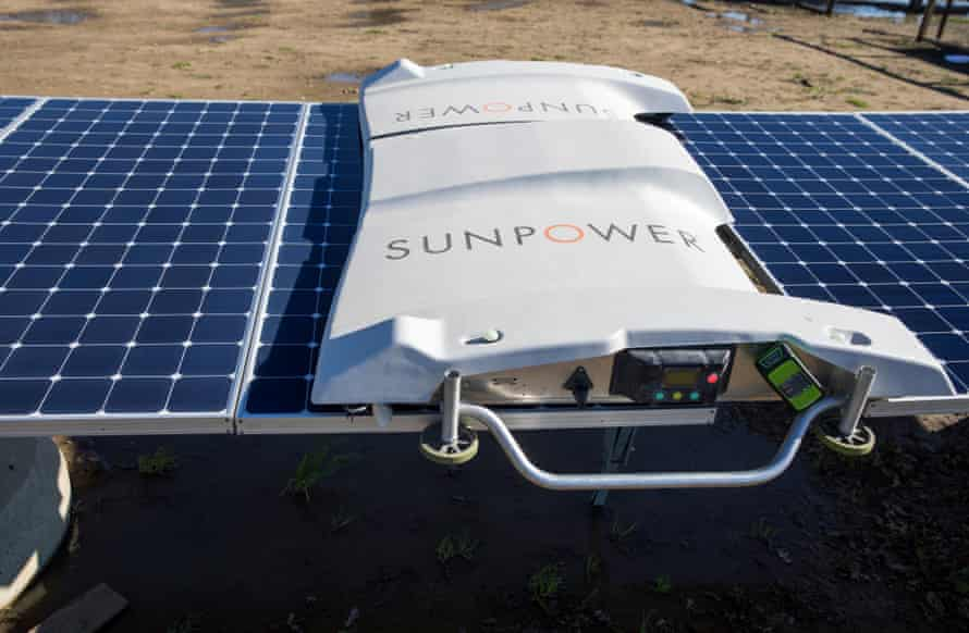 SunPower uses robots to clean solar panels in order to cut water use and lower the labor cost.