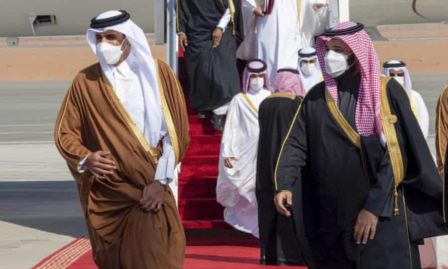 Saudi Arabia's Mohammed bin Salman welcomes Qatar's Sheikh Tamim bin Hamad al-Thani upon his arrival to attend the Gulf Cooperation Council's 41st summit in Al-Ula, Saudi Arabia, 5 Jan 2021.