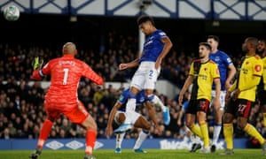 Mason Holgate scores Everton's opener and his first goal for the club in the fourth-round League Cup tie against Watford.
