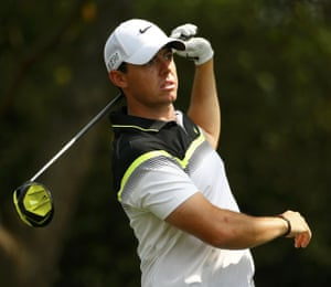 McIlroy watches his drive off the 2nd