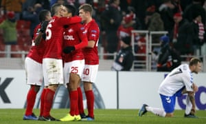 Spartak Moscow players celebrate their 4-3 win against Rangers in Russia.