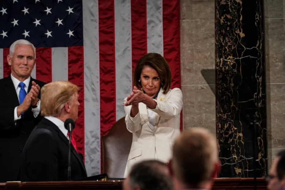 """This image of Pelosi, lips pursed in an arch smiled, eyes locked on Trump, applauding during the 2019 State of the Union address ripped across social media as the ultimate """"clapback""""."""