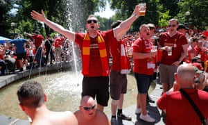 Liverpool fans singing at their fan area in Kiev before Saturday's final.