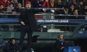 Mauricio Pochettino directs the Tottenham traffic in their Champions League draw at Barcelona.