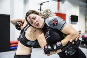 Rebecca Bowman spars during a Wimp to Warrior training session.