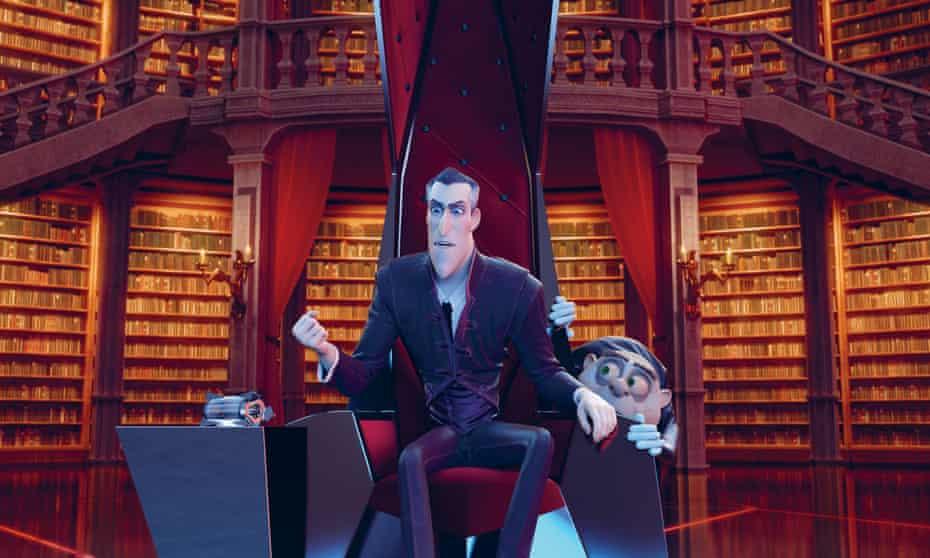 Isaac's character Dracula, in the animation Monster Family, sitting in a throne-like chair with another character peeping fearfully round