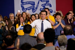 Whiter than white: Pete Buttigieg, in his trademark campaign trail look of crisp white shirt, campaigns at the private liberal arts school Grinnell College in Iowa last Friday