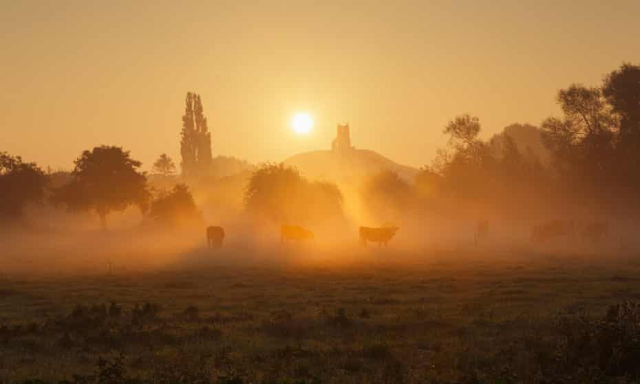 Dawn at Burrow Mump, on the Somerset Levels.