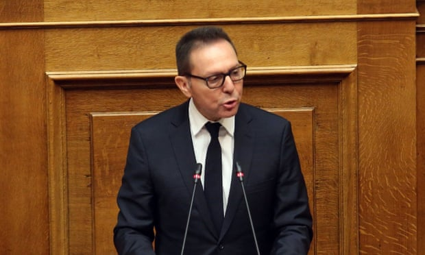 The governor of the Bank of Greece, Yannis Stournaras, denies the accusations against him in parliament. Photograph: Alexandros Beltes/EPA
