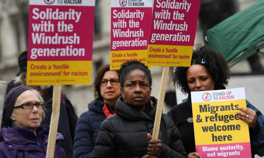 A Windrush solidarity protest outside parliament in 2018. The Home Office has not denied that the report was toned down.