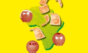 Illustration of Africa, £10 notes and red noses