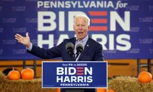 Biden at his drive-in rally at Dallas High School in Dallas, Pennsylvania, moments ago.