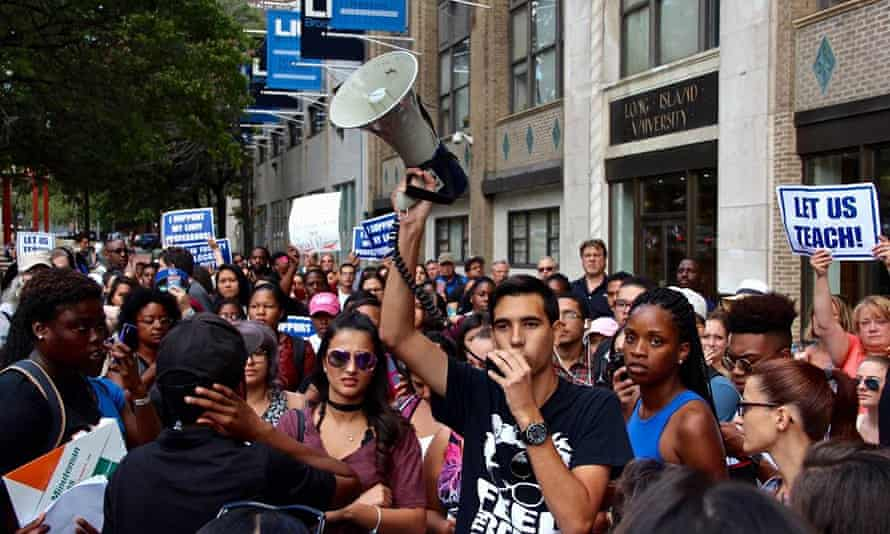 Carlos Jesus Calzadilla, a 19 year old political science student at LIU Brooklyn who was a former Bernie Sanders activist and Field Organizer for Tim Canova for Congress, that lead and organized the student protest at LIU Brooklyn for a week and a half that ultimately defeated the lockout of over 400 professors.