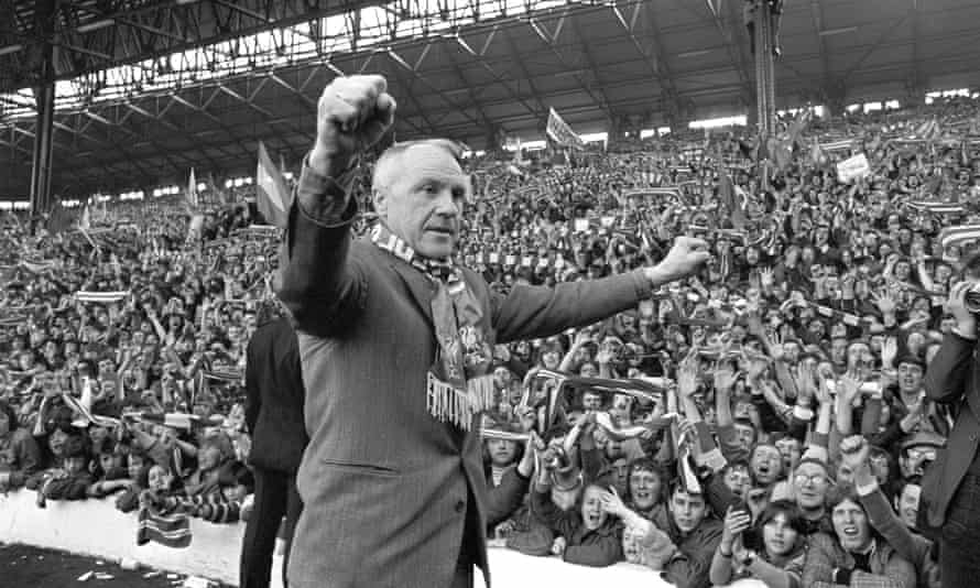 Bill Shankly and Liverpool fans celebrate winning the First Division Championship after a 0-0 draw against Leicester City at Anfield on 28 April, 1973.