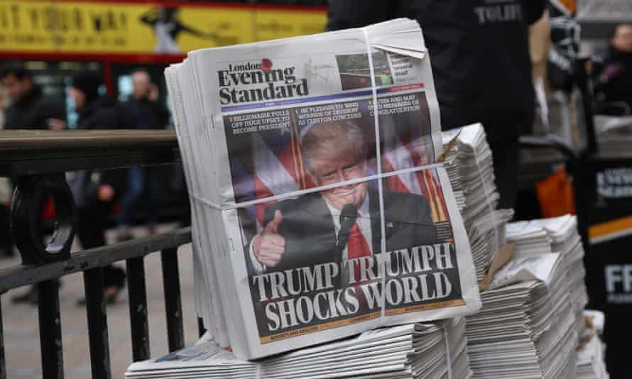 Donald Trump on the front page of the Evening Standard outside an underground station in central London.