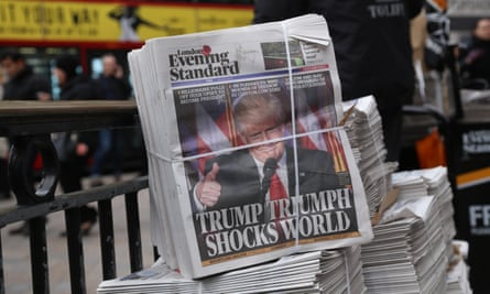 The London Evening Standard announces Donald Trump is the US president in November 2016.