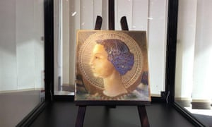 Small tile bearing an image of the Archangel Gabriel, which art experts in Rome claim is the oldest surviving work by Leonardo da Vinci.