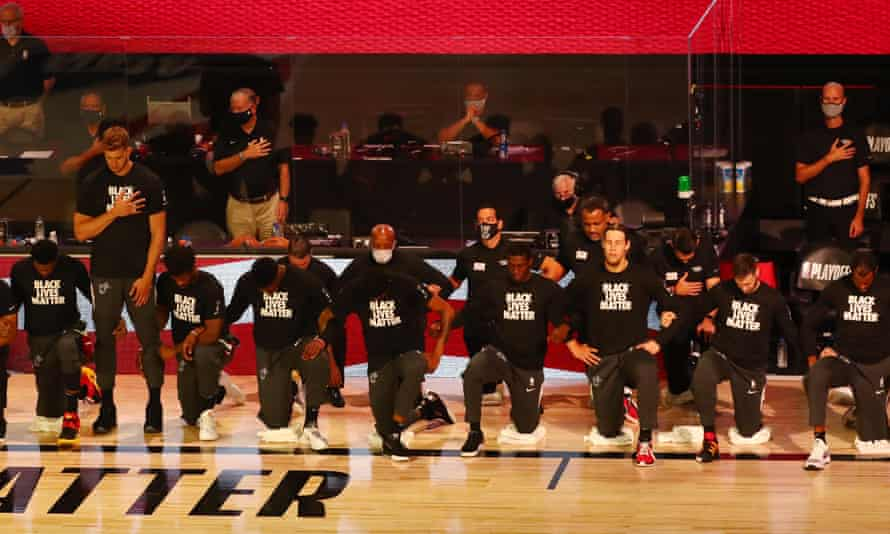 NBA players kneeling before games has become a common sight