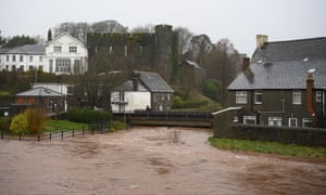 High water levels in the River Usk in Brecon