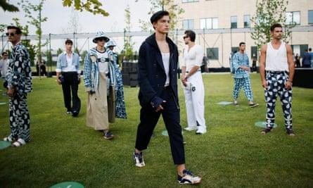 Dolce & Gabbana held its spring/summer 2021 men's collection at Humanitas University south of Milan.