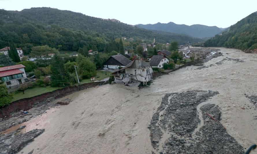 An aerial view as flood waters surged through Saint-Martin-de-Vésubie, Tende and other villages in south-eastern France at the weekend