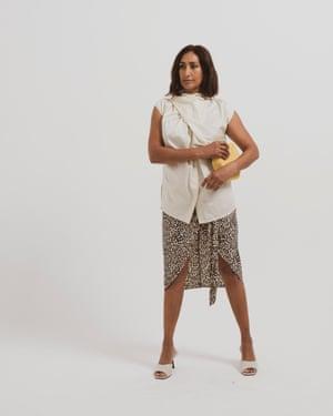 Model wears skirt, £36, oasis-stores.com. Shirt, £69, cosstores.com. Sandals, £49, office.co.uk. Bag, £68, dunelondon.com