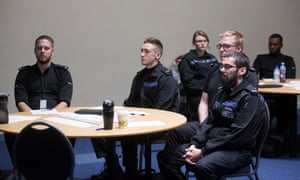 Bedfordshire police staff taking part in a meditation class.