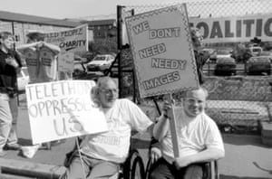 Protesters against the 1992 ITV Telethon.