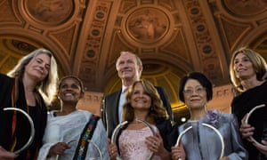 Brigitte Kieffer, Segenet Kelemu, Professor Cecilia Bouzat, Kayo Inaba and Professor Laurie Glimcher with the CEO of L'Oréal, Jean-Paul Agon, at the 2014 L'Oréal-Unesco award for women in life science, Paris