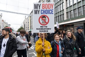 Protesters take part in the March For Freedom demonstration organised by Stand Up X, on 17 October 2020 in London, United Kingdom.