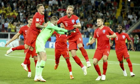 England's players celebrate their penalty shootout victory over Colombia in Moscow