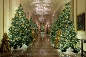 A view of the Cross Hall during the White House Holiday Decor Press Preview.
