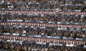 An aerial view of rows of terraced housing in London