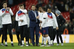 Southgate with Lewis Cook after the final whistle.