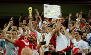 England fans celebrate in the Spartak Stadium after the defeat of Colombia in the World Cup last 16.