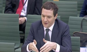 George Osborne giving evidence to the Commons Treasury committee on the budget