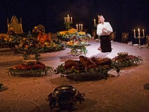 2015. Joshua James (Cobbe) in Light Shining In Buckinghamshire by Caryl Churchill @ Lyttelton, National Theatre. Directed by Lyndsey Turner. (Opening 23-04-15) ©Tristram Kenton 04/15 (3 Raveley Street, LONDON NW5 2HX TEL 0207 267 5550 Mob 07973 617 355)email: tristram@tristramkenton.com