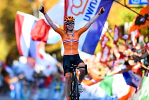 Anna van der Breggen of the Netherlands celebrates while crossing the finish line to win the women's Elite Road Race.