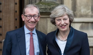 Philip and Theresa May outside the Palace of Westminster