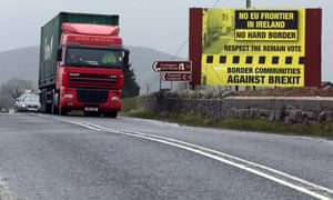 Traffic crossing the border into Northern Ireland from the Irish Republic.
