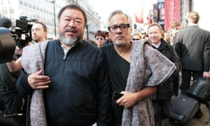 Ai Weiwei and Anish Kapoor set off on their march from the Royal Academy of Arts in London.