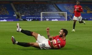 Bruno Fernandes celebrates scoring Manchester United's third goal in their Premier League win at Brighton.