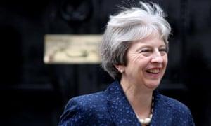 Theresa May outside No 10 Downing Street on Monday.