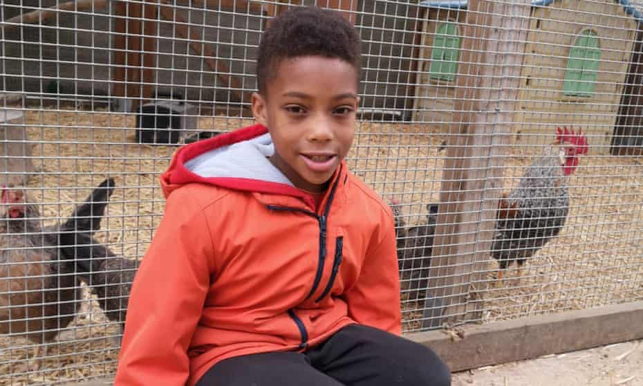Young country diarist Tyler at Deen City Farm in south London.