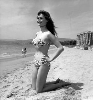 Brigitte Bardot is photographed in a bikini at Cannes in 1953